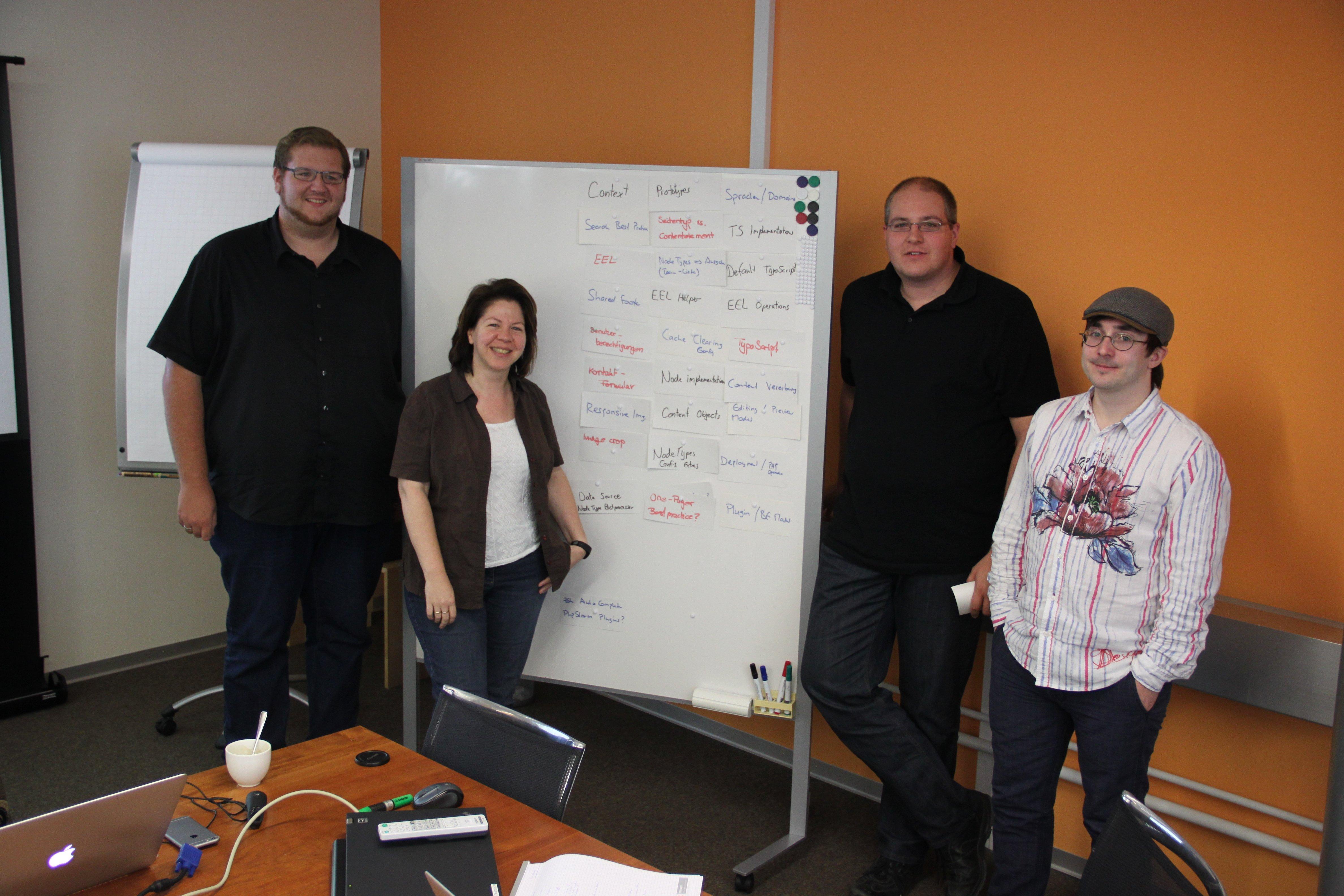 Die Teilnehmer der internen Neos-Schulung mit dem Whiteboard mit den behandelten Themen.