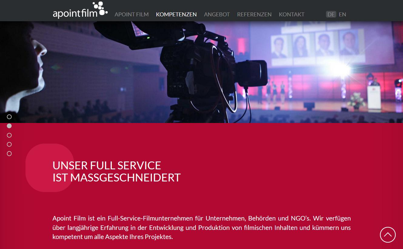 Screenshot der Neos One-Pager Website von Apoint-Film
