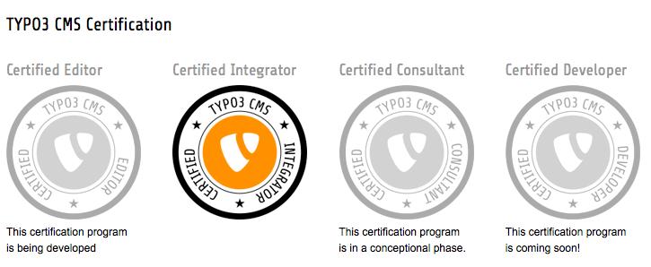 TYPO3 CMS Certificates