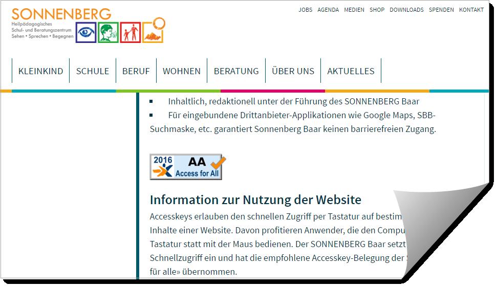 AA-Zertifizierung der Website sonnenberg-baar.ch