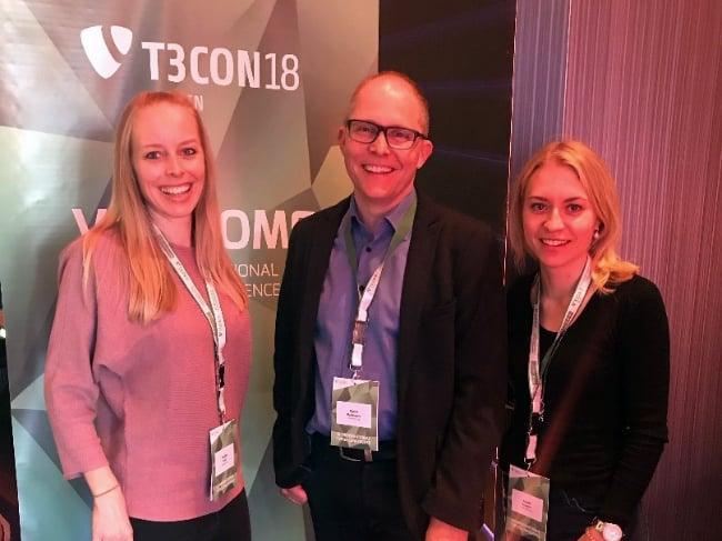 Nadine Rast, Daniel Bachmann und Jasmin Trinkler an der T3CON18.